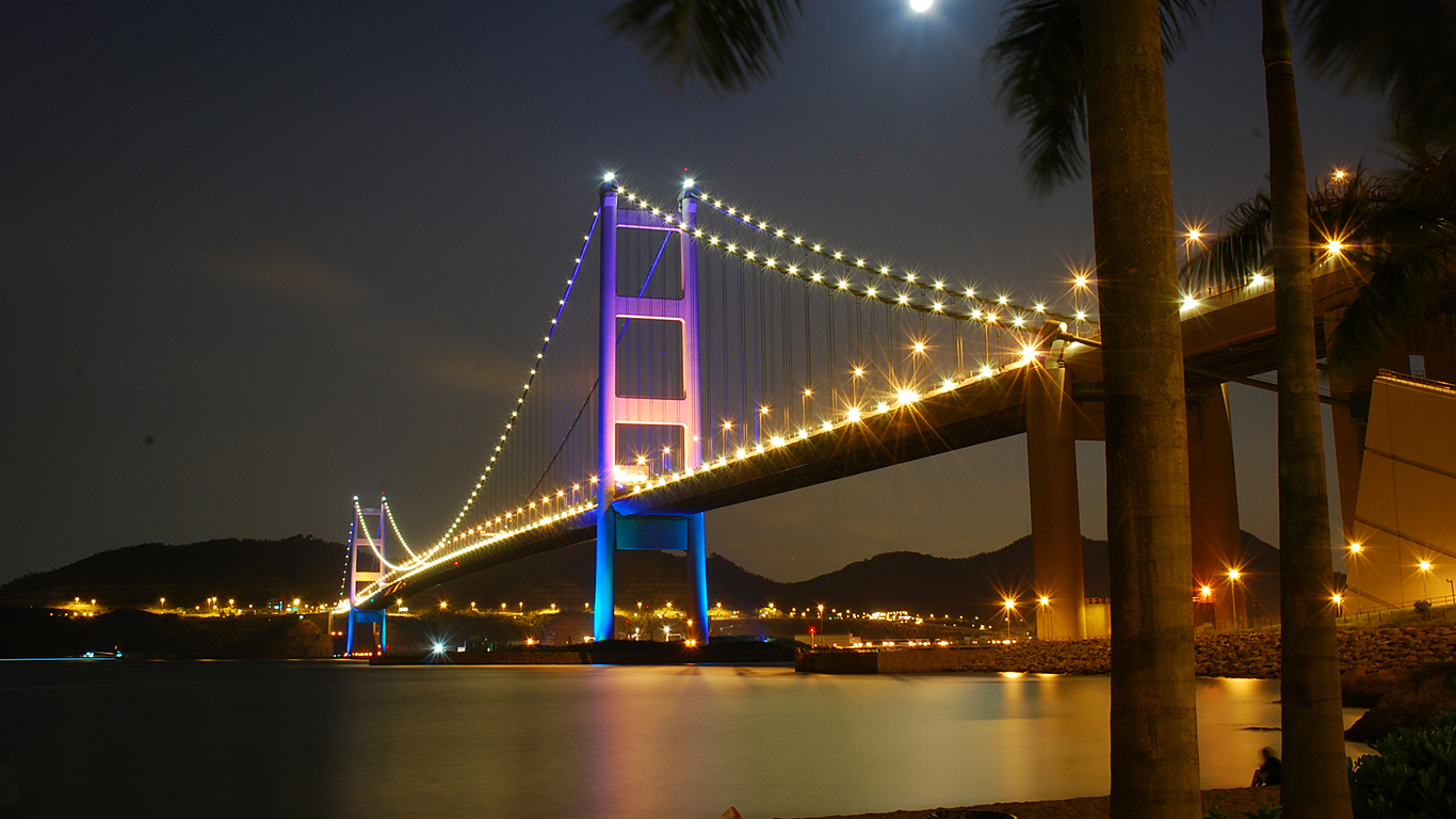 Мост Цинма ночью