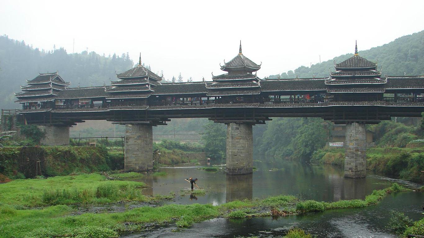 Вид с берега.Мост Юнцзи