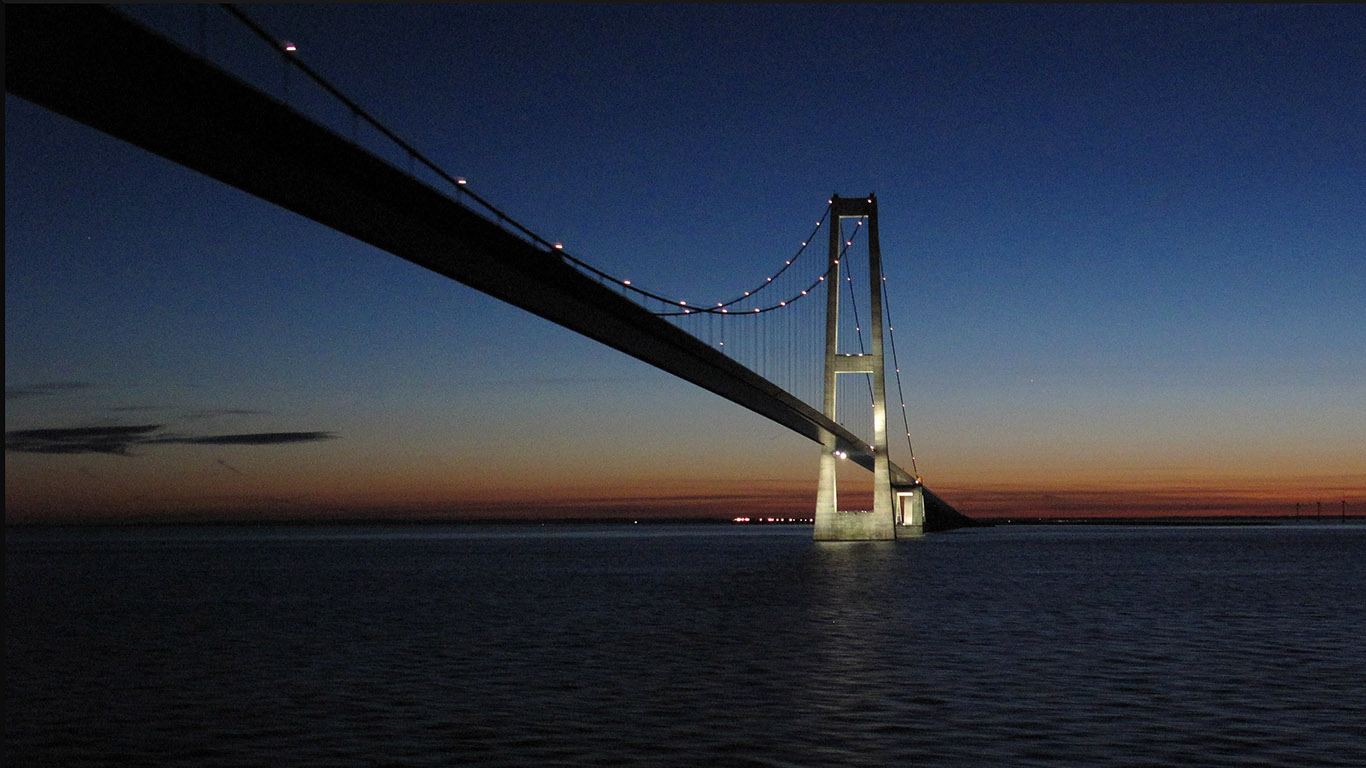 После заката.Мост Большой Бельт