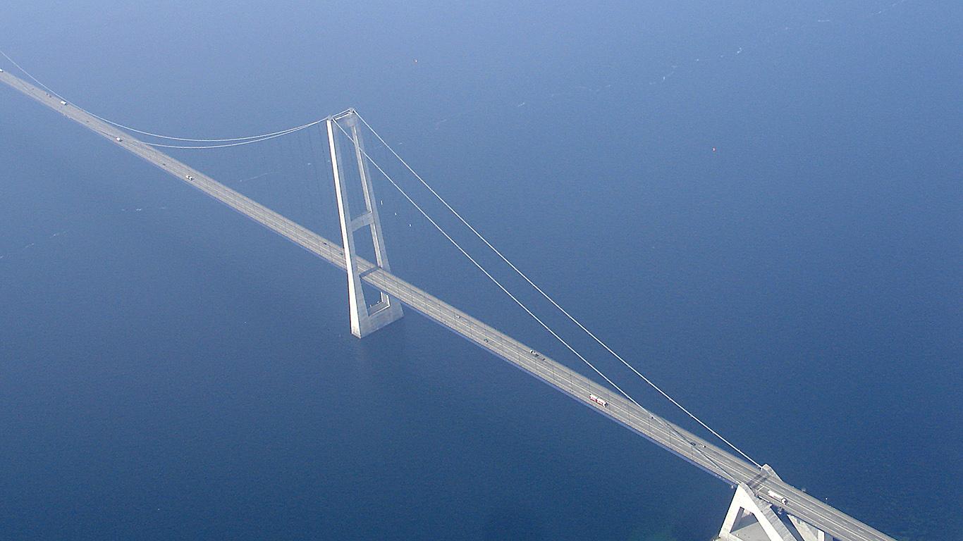 Мост Большой Бельт с высоты