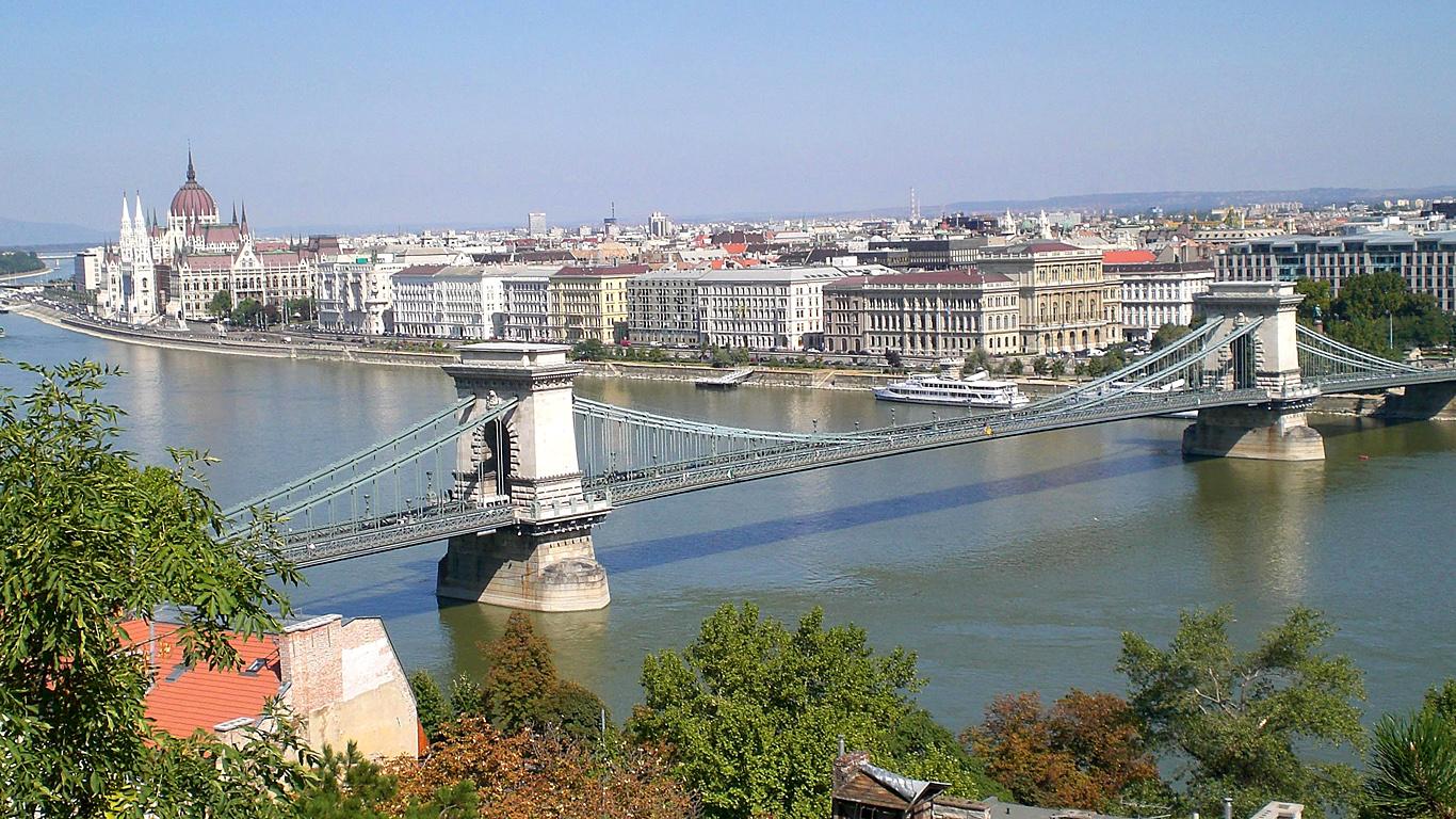 Цепной мост Сечени летом