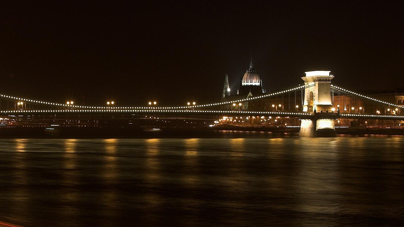 Цепной мост Сечени ночью