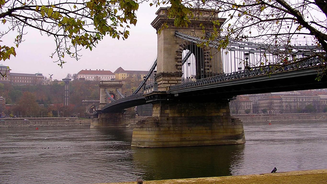 Вид с берега Цепной мост Сечени