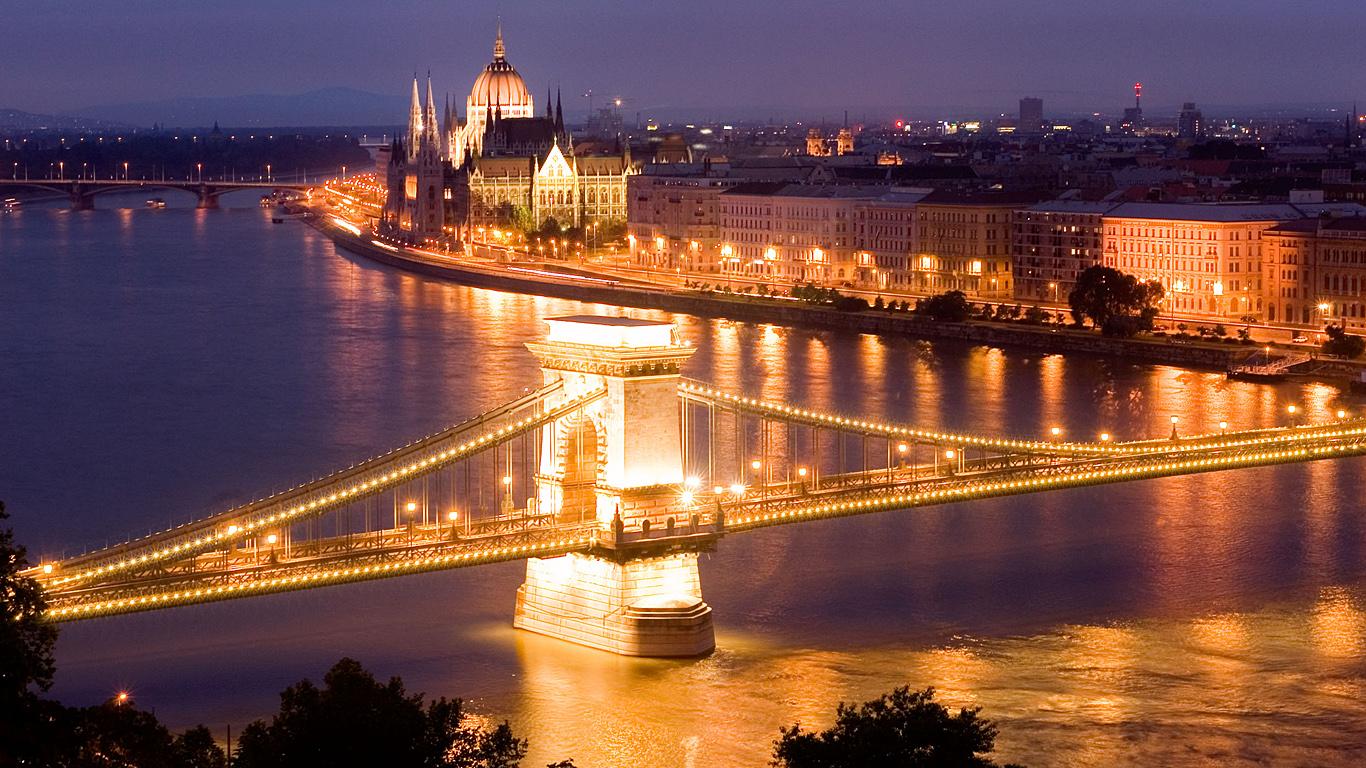 Цепной мост Сечени сверху
