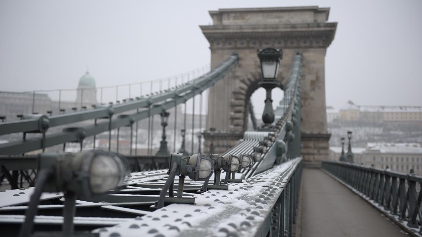 Цепной мост Сечени зимой