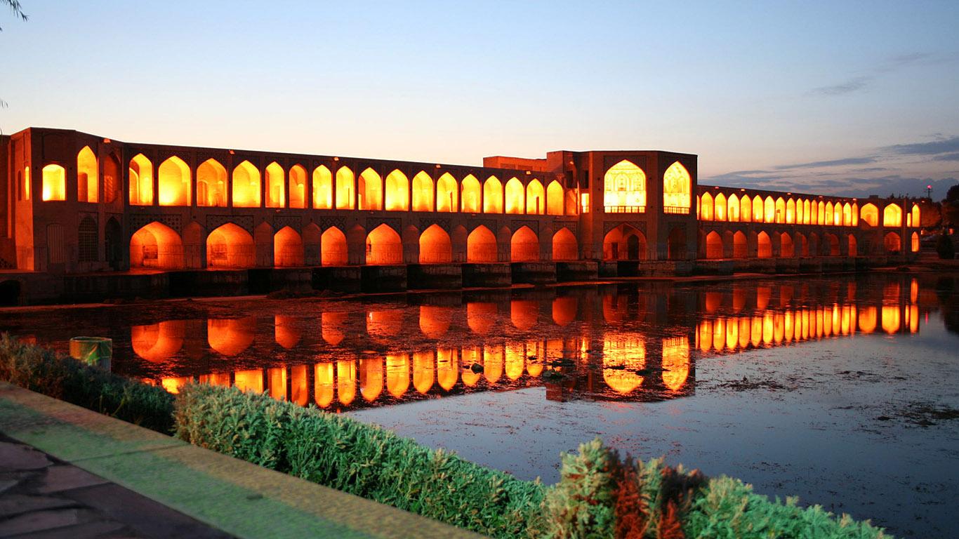 Мост Хаджу на закате