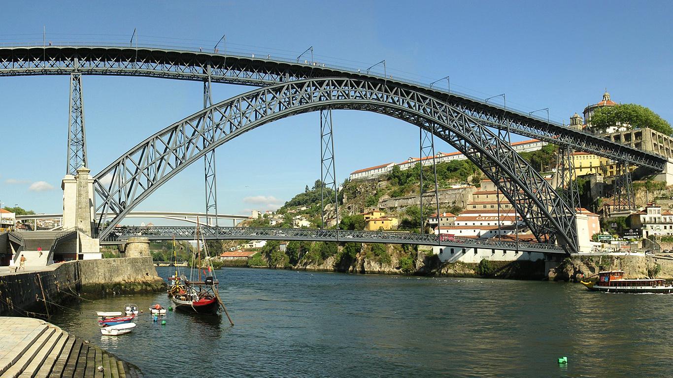 Вид с берега.Мост Понте-де-Дон-Луиш