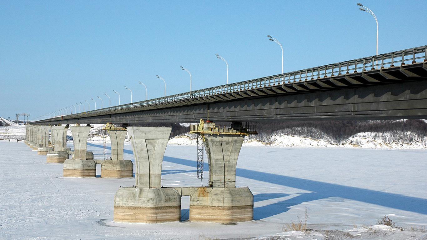 Зима.Мост через Каму