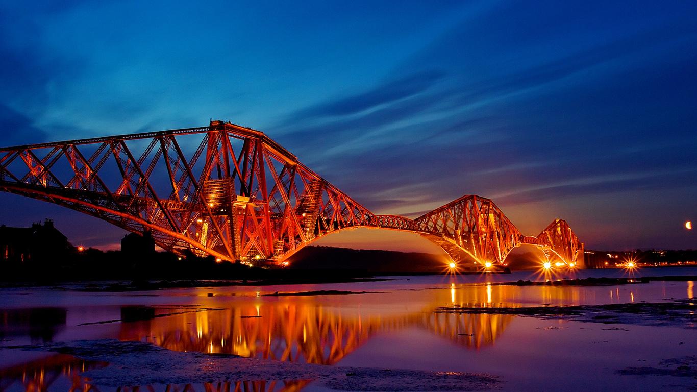 Мост Форт-Бридж после заката